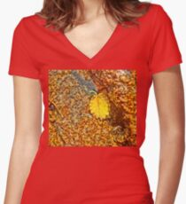 Premature Autumn Aspen Leaf Women's Fitted V-Neck T-Shirt