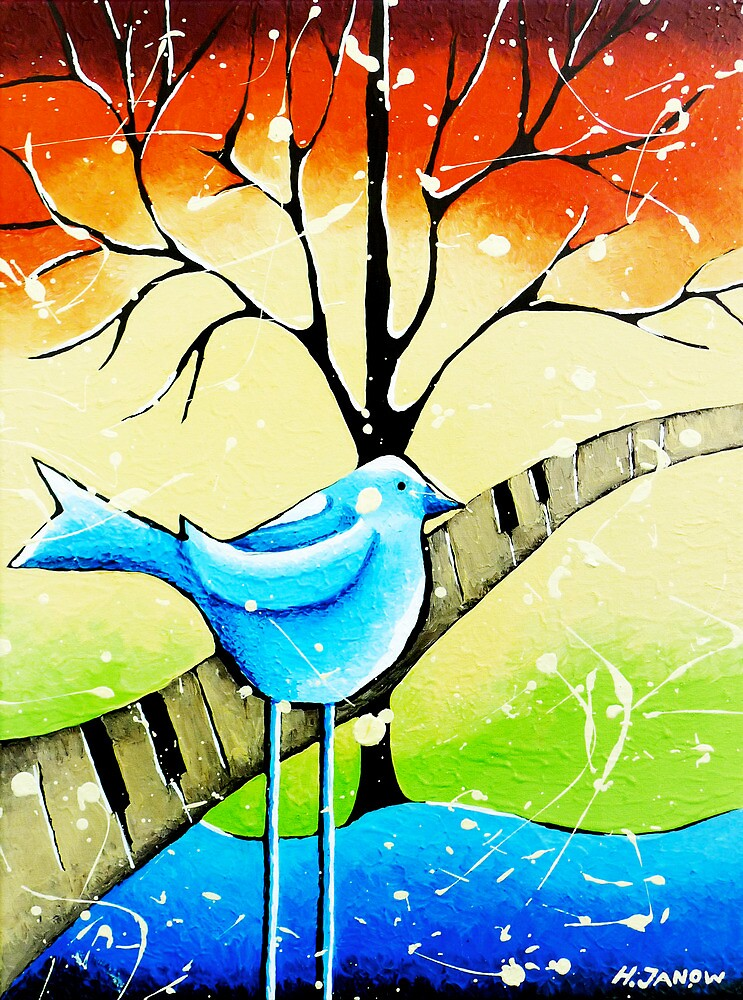 Quot Blue Bird Painting Original Whimsical Folk Wall Art Quot By