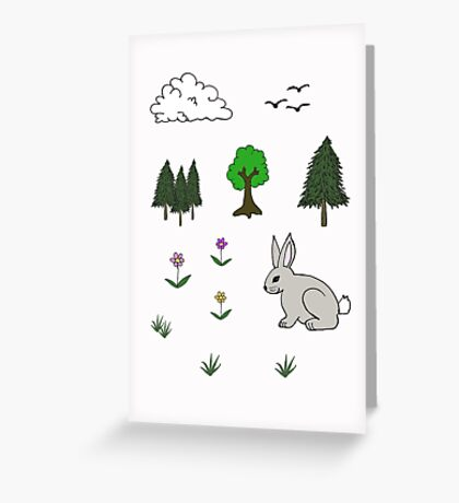 Nature Diorama Stickers  Greeting Card