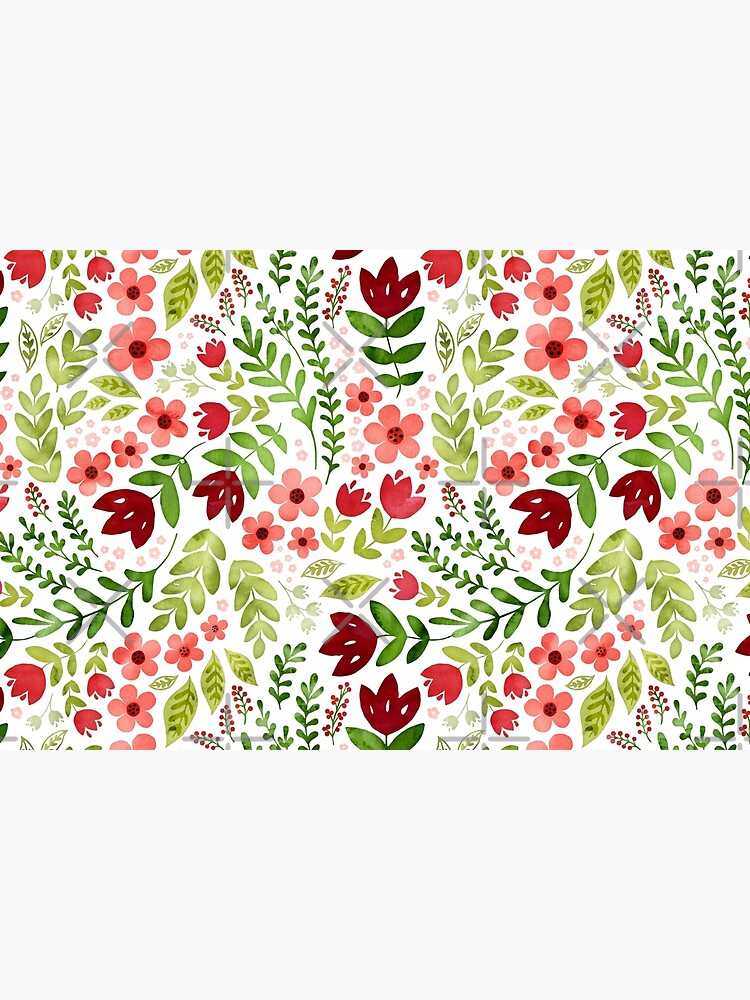 Red and peach watercolour floral by adenaJ