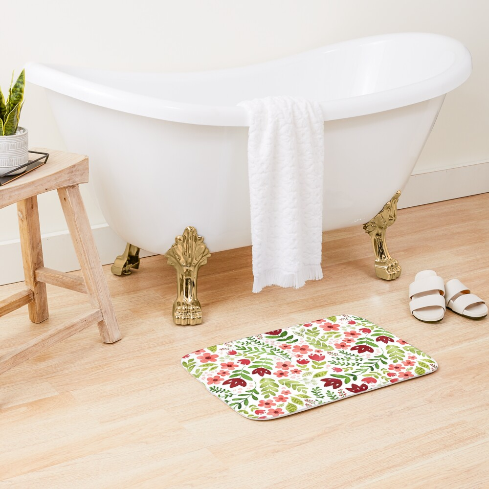 Red and peach watercolour floral Bath Mat