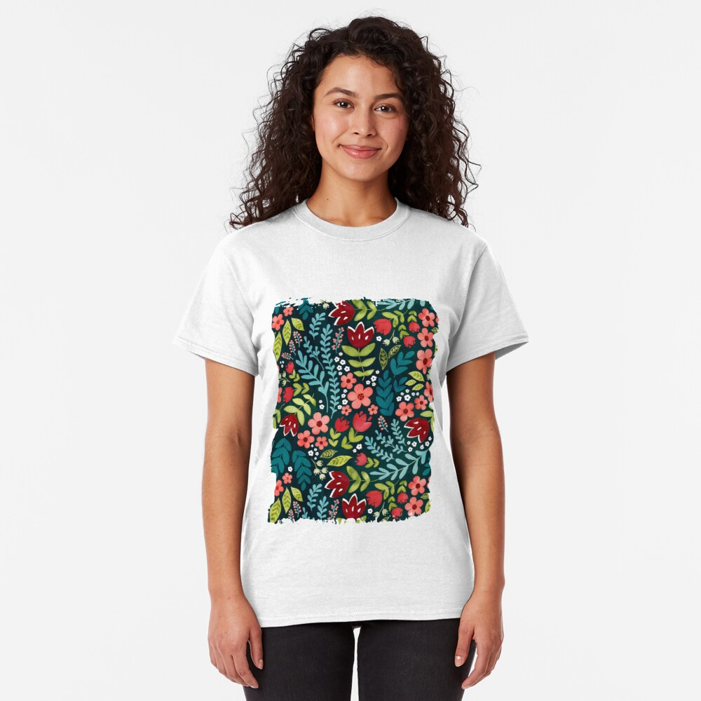 Green watercolour floral  Classic T-Shirt