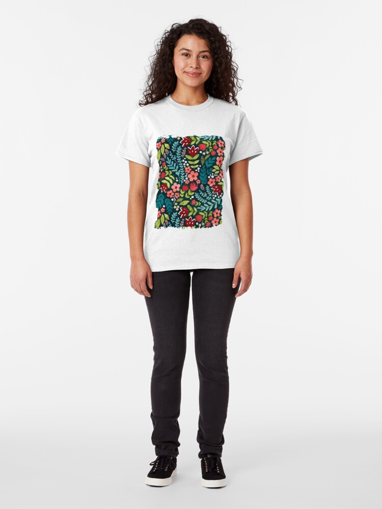 Alternate view of Green watercolour floral  Classic T-Shirt