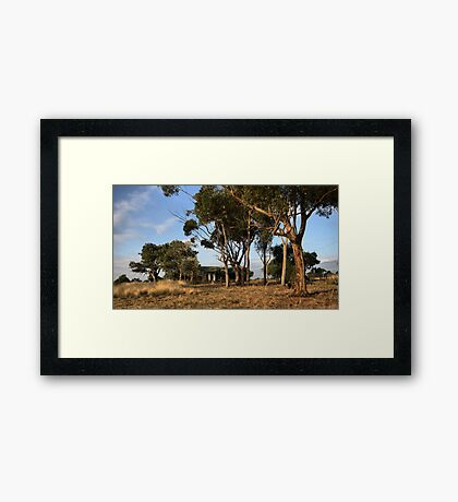 Country Blue Stone Home Framed Print