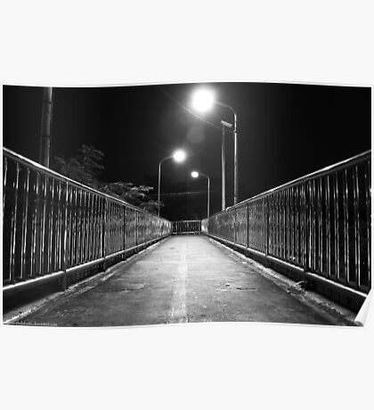Down to Somewhere - Footbridge at night Poster