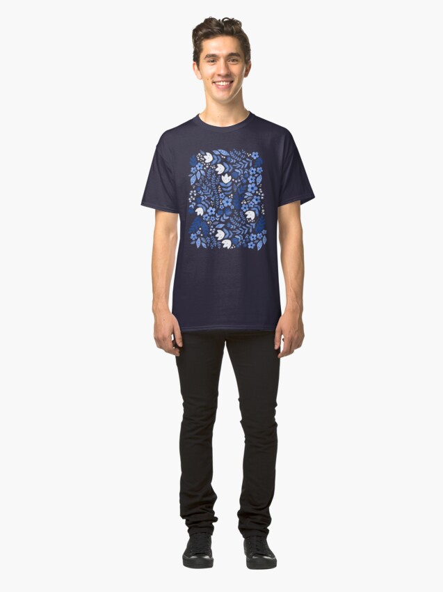 Alternate view of Dark blue watercolour floral  Classic T-Shirt