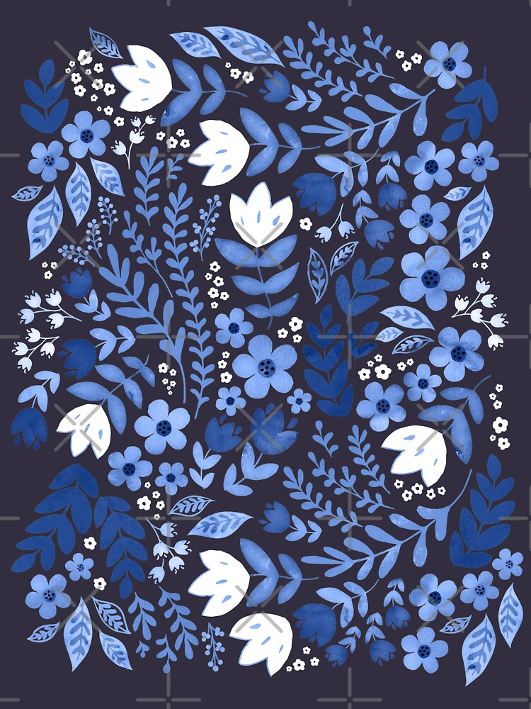 Dark blue watercolour floral  by adenaJ