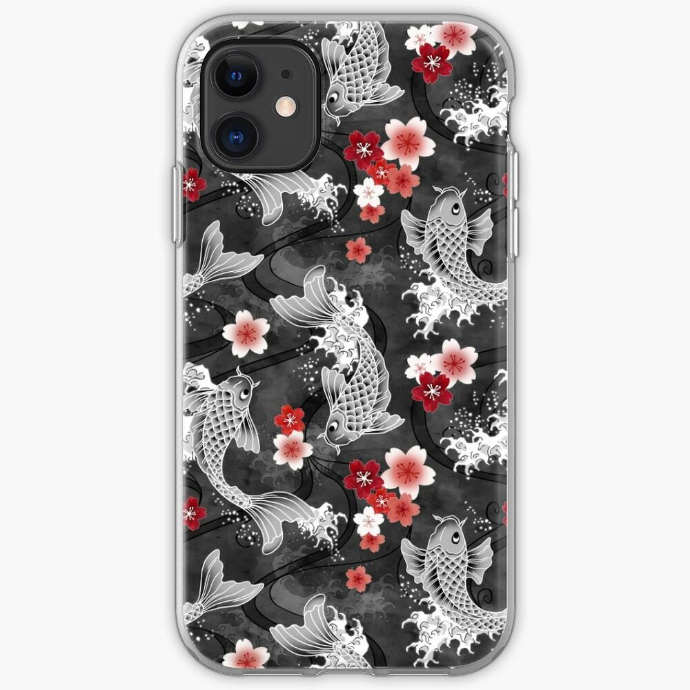 Koi sakura blossom in black iPhone Case & Cover