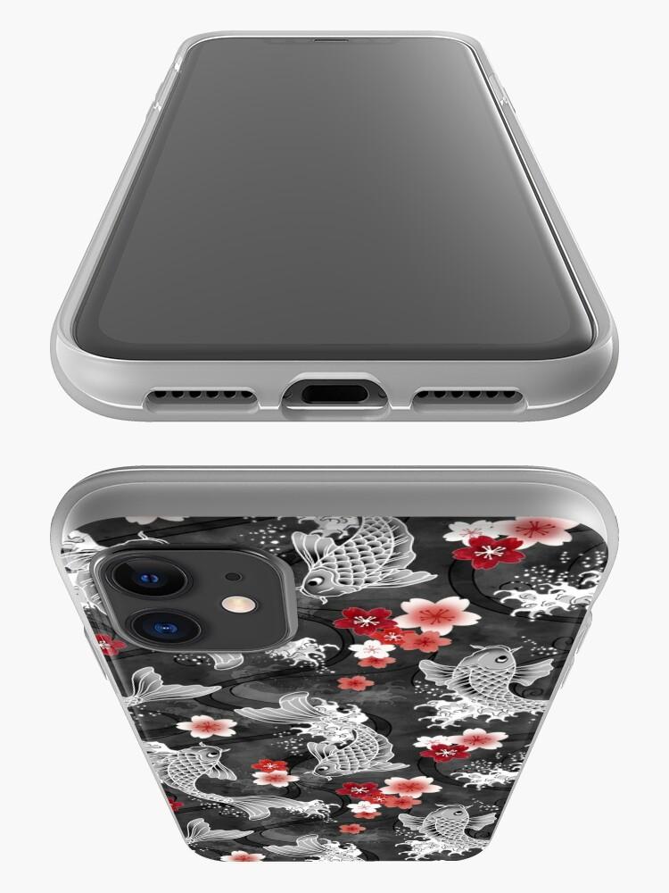 Alternate view of Koi sakura blossom in black iPhone Case & Cover