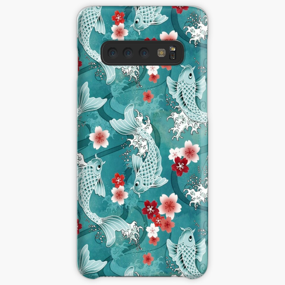 Koi sakura blossom in turquoise Case & Skin for Samsung Galaxy