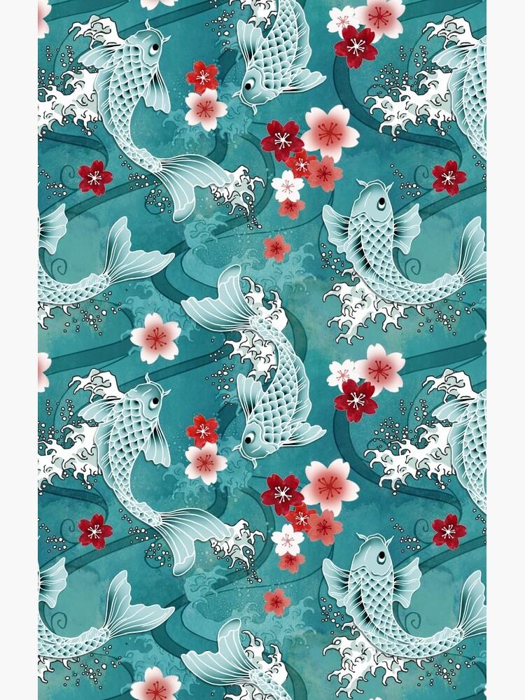 Koi sakura blossom in turquoise by adenaJ