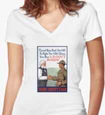 I'm Off To Fight For Old Glory -- WWI Women's Fitted V-Neck T-Shirt
