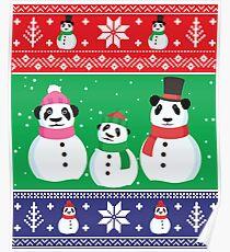 Cute Panda Snowman Ugly Christmas Xmas Sweater Poster