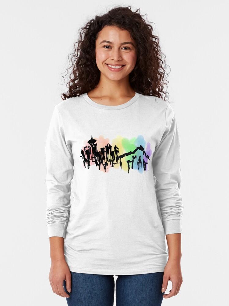 Alternate view of Seattle Rainbow Skyline Long Sleeve T-Shirt