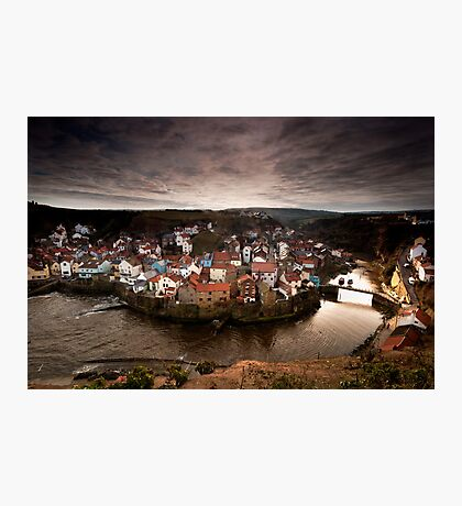 Winter sun over Staithes Photographic Print