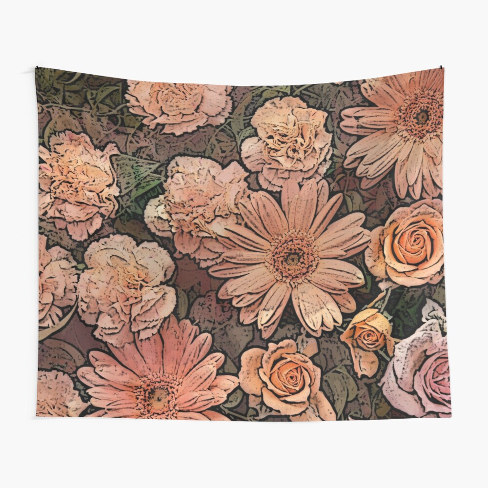French Country Pink Orange Floral Shabby Chic \\Wall Tapestry