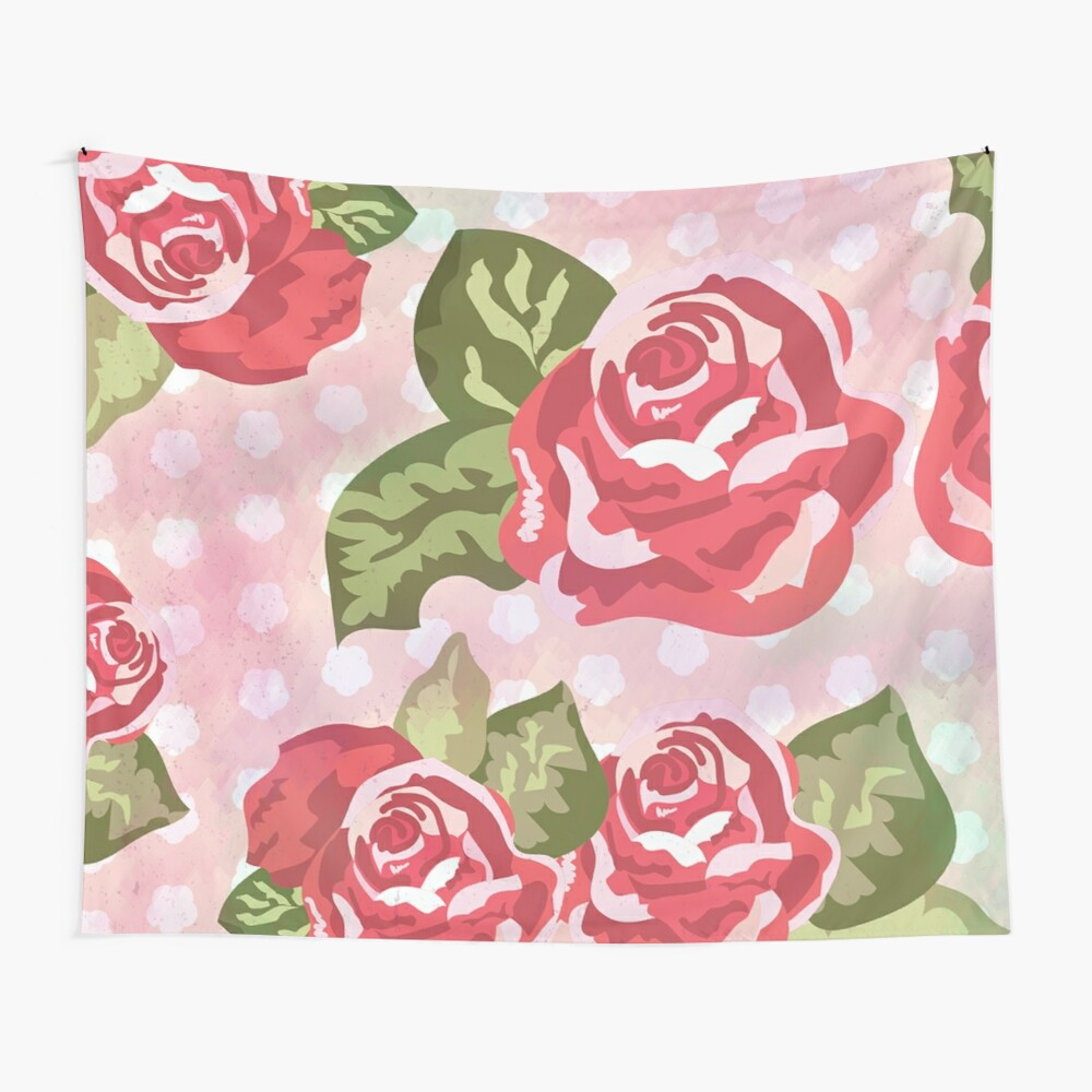 French Country Polka Dot Rose Floral Print Wall Tapestry
