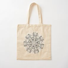Stained Glass Mandala - Navy & White  Cotton Tote Bag