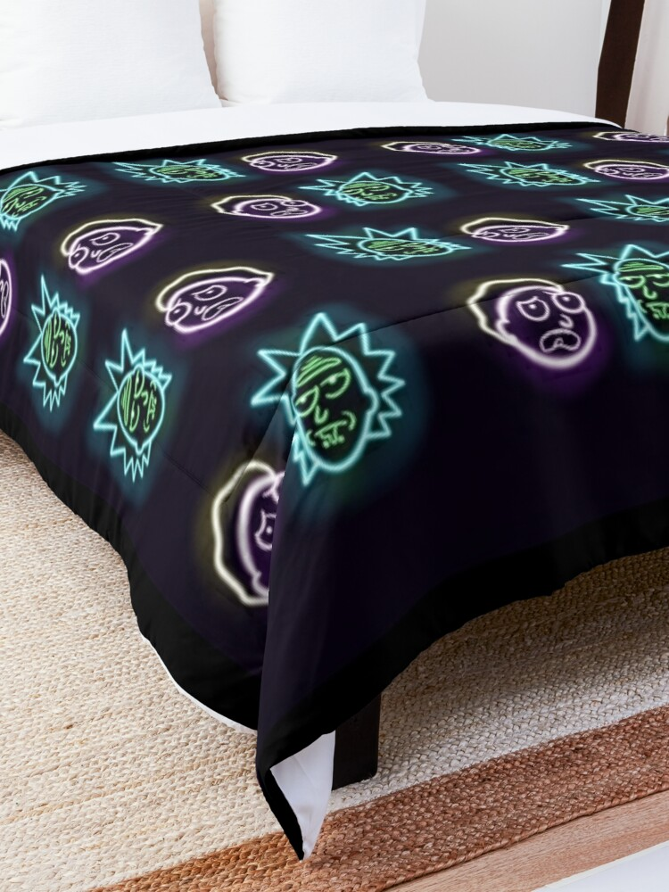 Alternate view of Neon rick and morty  Comforter