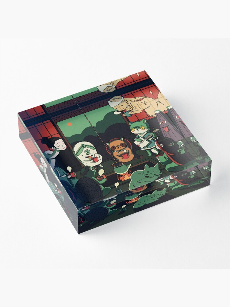 Alternate view of Yokai Tea Party Acrylic Block