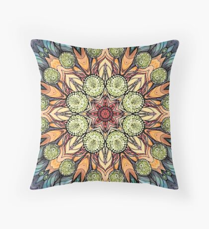 abstract red star hand drawn and  kaleidoscope mandala Throw Pillow