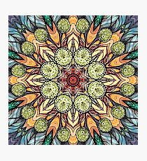abstract red star hand drawn and  kaleidoscope mandala Photographic Print