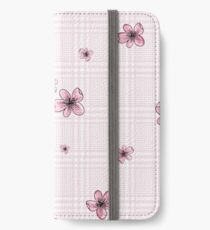 Pretty Blossom on Pink and White Checkered Background iPhone Wallet/Case/Skin