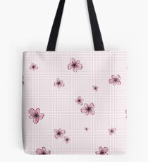 Pretty Blossom on Pink and White Checkered Background Tote Bag