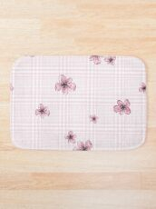 Pretty Blossom on Pink and White Checkered Background Bath Mat