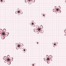 Pretty Blossom on Pink and White Checkered Background by thatsgraphic