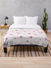 Pretty Blossom on Pink and White Checkered Background Throw Blanket