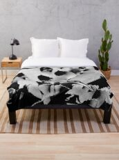 Succulent in black and white Throw Blanket