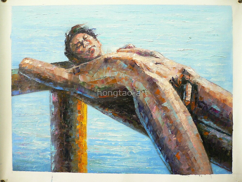ORIGINAL ABSTRACT OIL PAINTING ART-MALE NUDE by hongtao-art