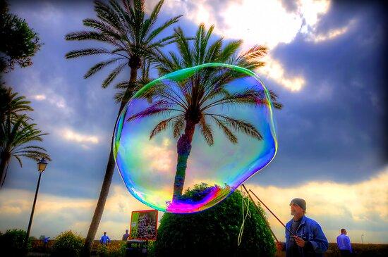 The Bubble Man of Santa Maria, Palma. by Luke Griffin