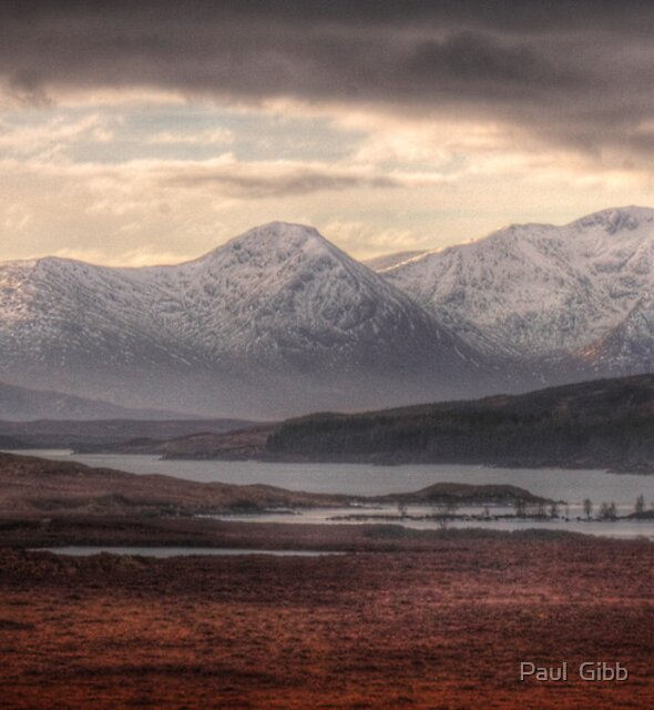 Glen Coe over a frozen Loch Laidon by Paul  Gibb