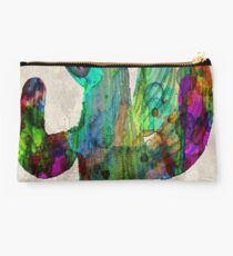 Desert Cactus Rainbow Art Abstract Watercolor by Robert R  Studio Pouch