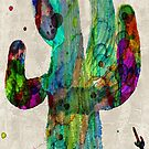 Desert Cactus Rainbow Art Abstract Watercolor by Robert R  by Robert  Erod