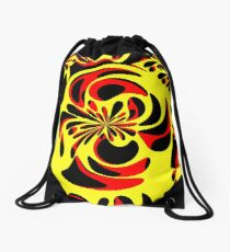 Yellow red and black Drawstring Bag