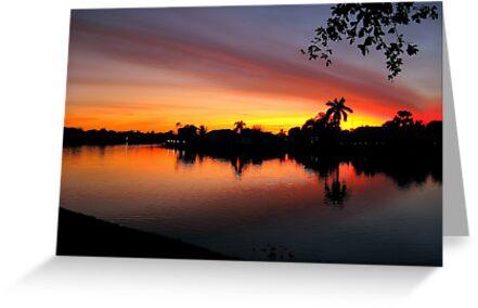 Sunset over Man Made Lake by glennc70000