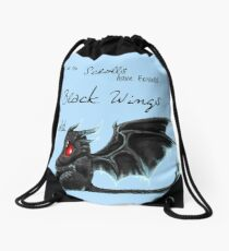 Black Wings Drawstring Bag