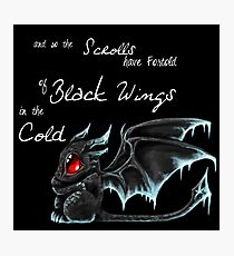 Black Wings (White Lettering) Photographic Print