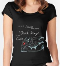 Black Wings (White Lettering) Women's Fitted Scoop T-Shirt