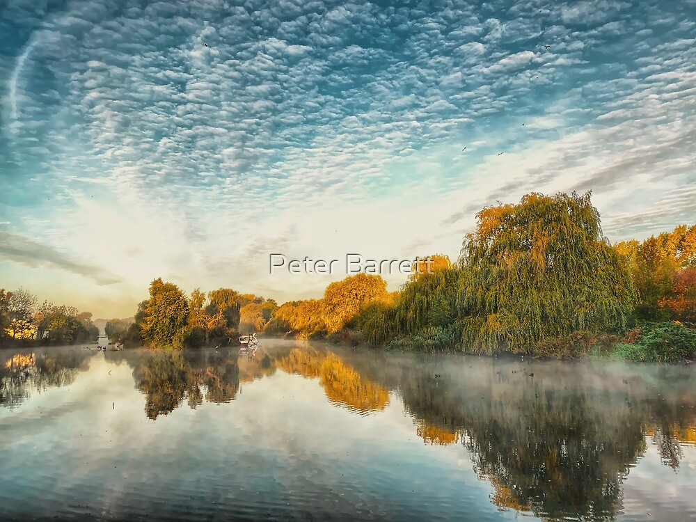 Misty morning at the lake  by Peter Barrett
