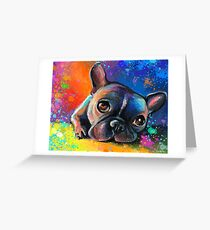 Whimsical French Bulldog painting Svetlana Novikova Greeting Card