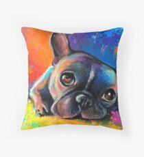 Whimsical French Bulldog painting Svetlana Novikova Throw Pillow