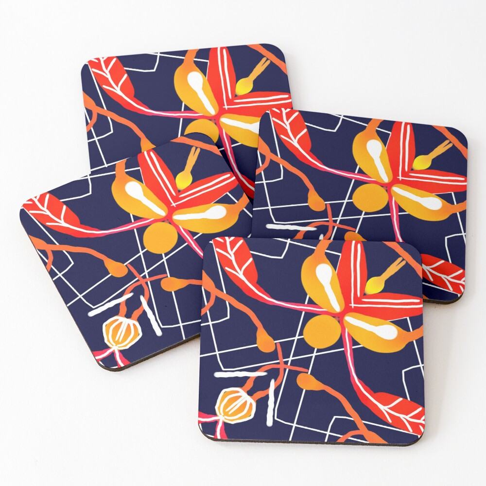 Sunset orchid Coasters (Set of 4)