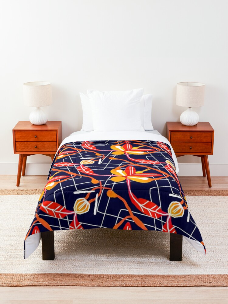 Alternate view of Sunset orchid Comforter