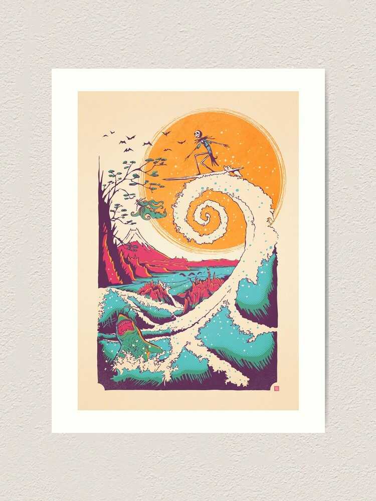 Alternate view of Surf Before Christmas Art Print