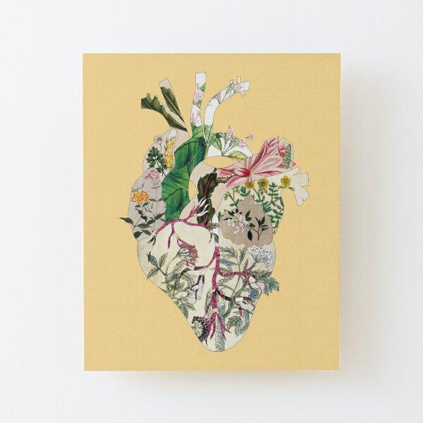 Vintage Botanical Heart - sunshine Wood Mounted Print