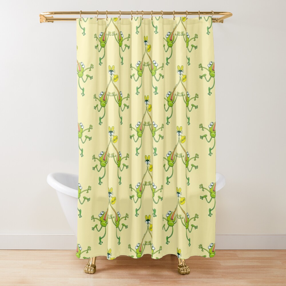 Two green frogs stuck their tongues when trying to hunt the same fly Shower Curtain
